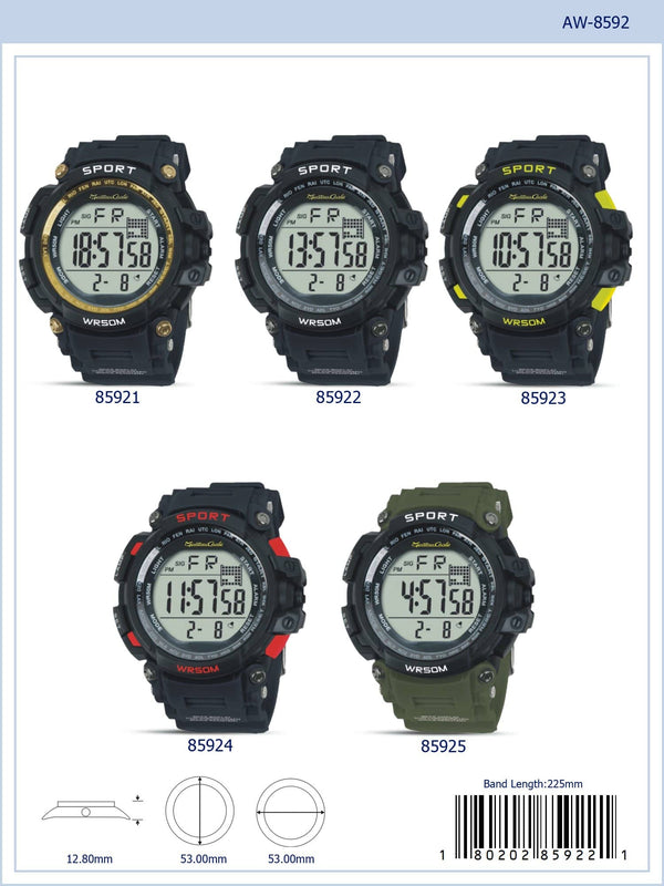 53MM Montres Carlo 5ATM Digital Watch - 8592