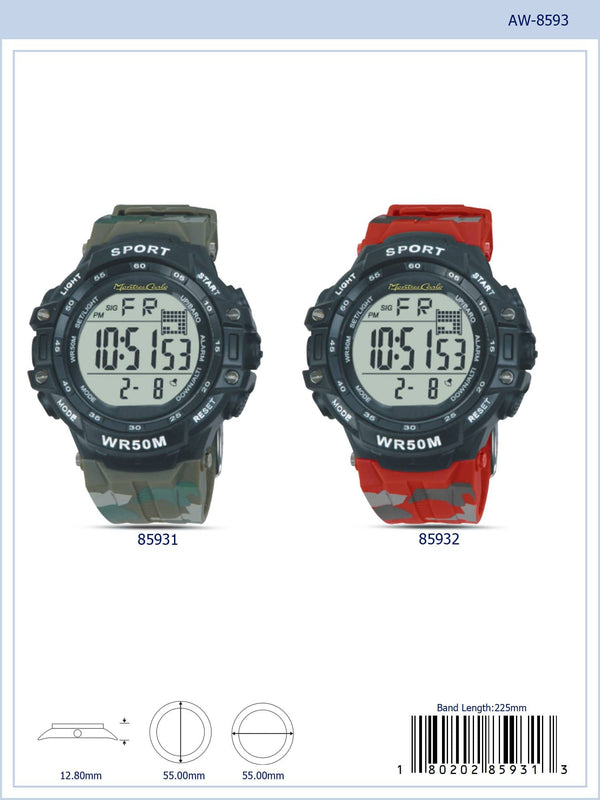 55MM Montres Carlo 5ATM Digital Watch - 8593