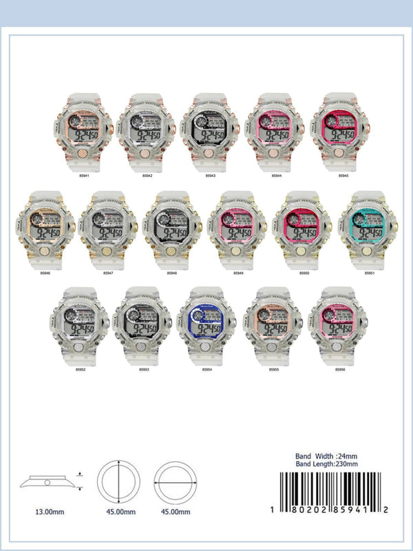 45MM Montres Carlo 5ATM Circular Transparent Digital Watch - 8594 - Special (MOQ 5 Piece Assorted)