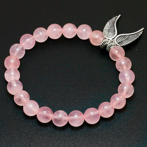 Natural Pink Quartz with Angel Wings Pendent Bracelet
