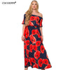 2018 Women sexy Lotus Print Plus Size Long floor length Dress Large size Maxi Dresses