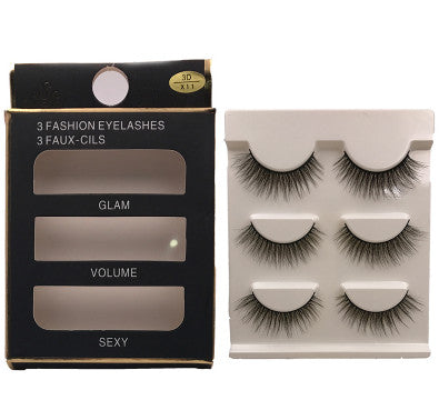 3 pairs natural false eyelashes fake lashes long makeup 3d mink lashes extension