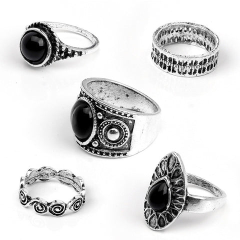 5 Pcs/ Set Classic Black Crystal Round Water Drop Clouds Geometrical Irregular Ring