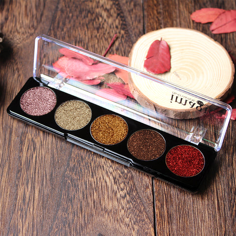 Glitters Eyeshadow Cosmetic Pres 5 Color