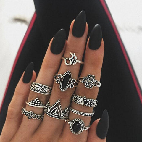 10PCS Stone Midi Ring Sets Crown Star Moon Vintage Crystal Opal Knuckle Rings