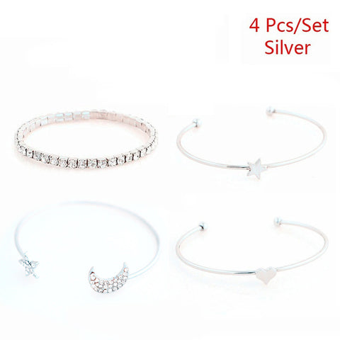4 Pcs/set Punk Retro Charm Simple Moon Star Heart Crystal Elasticity Bracelet