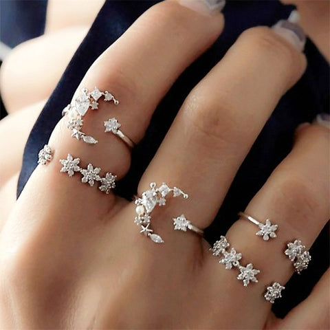 5 Pcs/set Bohemia Retro Crystal Moon Star Simple Hollow Punk Personality Silver Open Ring