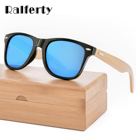 Ralferty Retro Wood Sunglasses Women Brand Design