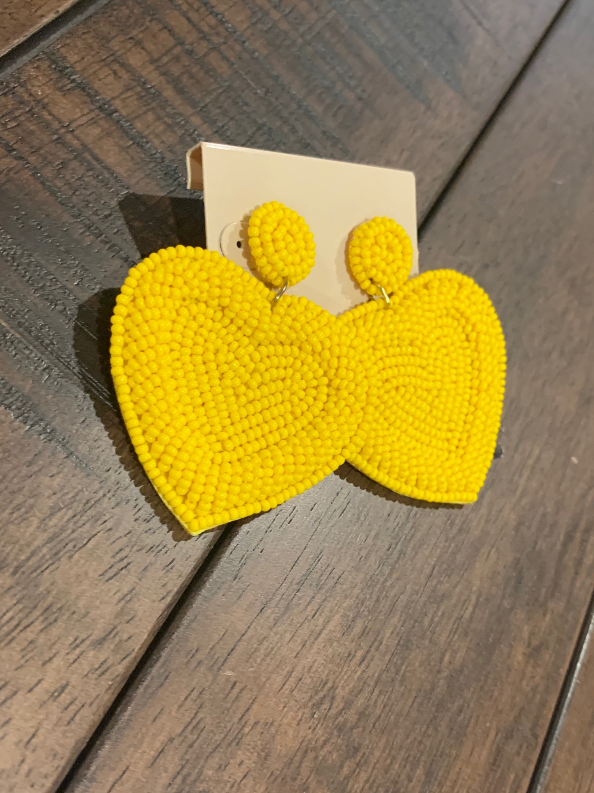 Sunshine Beaded Heart Earrings