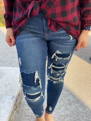 Judy Blue Patched Destroyed Skinnies