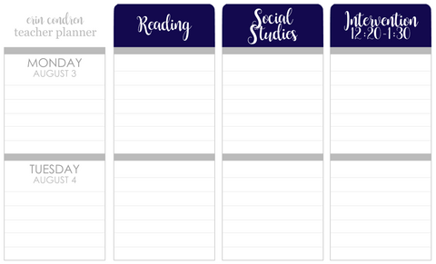 T161 || Custom Color Weekly Teacher Planner Header Stickers