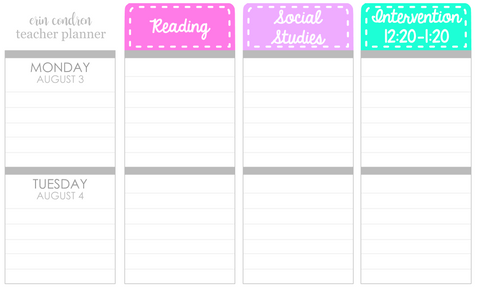 T01 || Stitched Teacher Planner Header Stickers