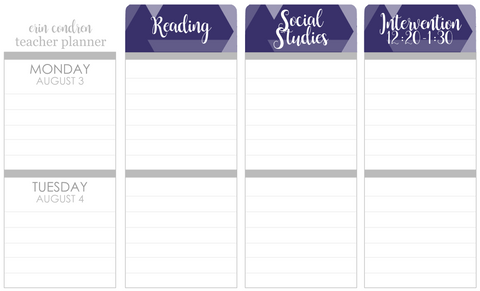 T177 || Custom Geometric Weekly Teacher Planner Header Stickers