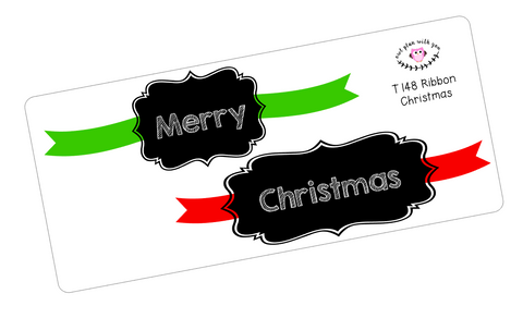 T148 || Ribbon Merry Christmas Full Day Stickers