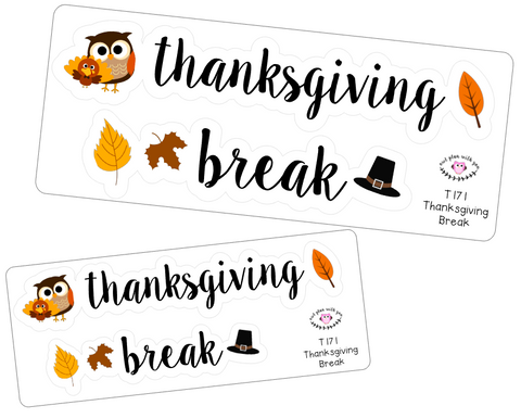T171 || Thanksgiving Break Week Cover Stickers