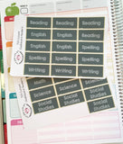 T03 || 28 Custom Chalkboard Teacher Planner Header Stickers