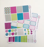 H01 || Blue and Purple Horizontal Weekly Planner Kit