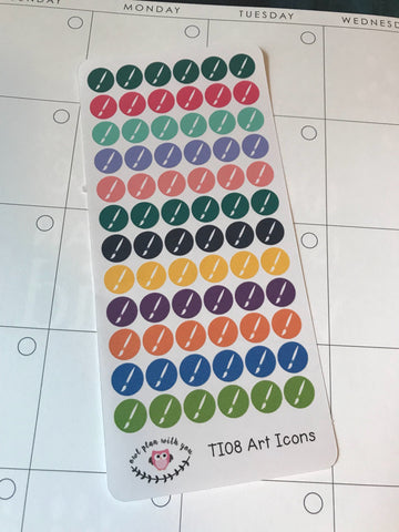 TI08 || 72 Paint Brush Icon Stickers