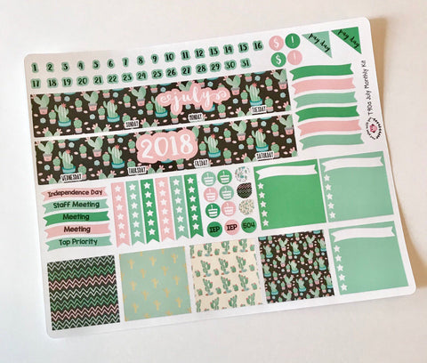 CP01 || July Cactus Happy Planner Classic Teacher Kit