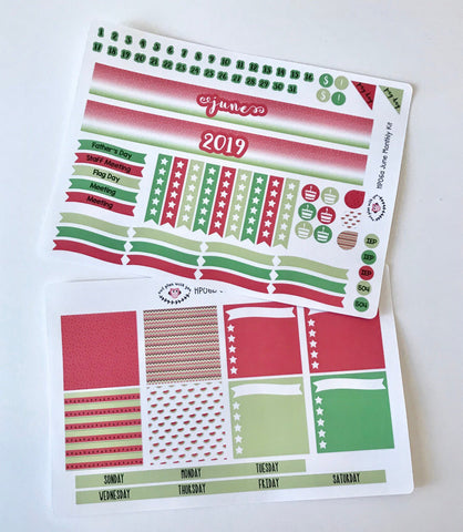 HP06 || June Watermelon Happy Planner Teacher Kit