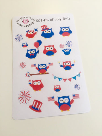 O01 || 19 4th of July Owl Stickers