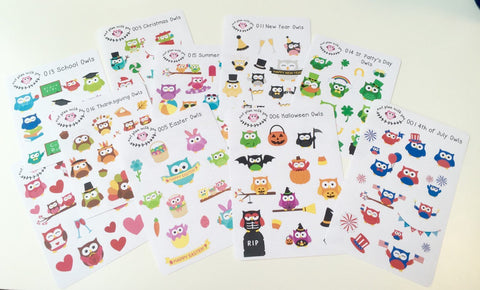Seasonal Owl Sticker Set || For Erin Condren Life Planner