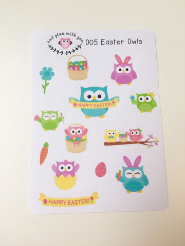 O05 || 13 Easter Owls Stickers