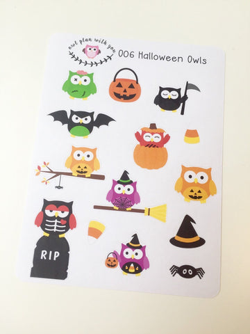 O06 || 14 Halloween Owls Stickers