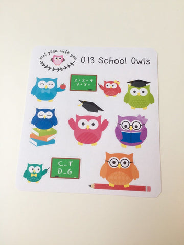 O13 || 9 School Owls Stickers