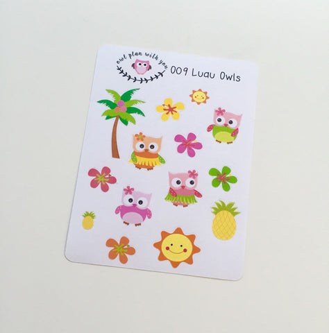 O09 || 14 Luau Owl Stickers