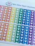 B06 || 32 Glitter Heart Checklist Stickers