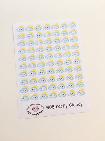 W08 || 70 Partly Cloudy Weather Tracking Stickers