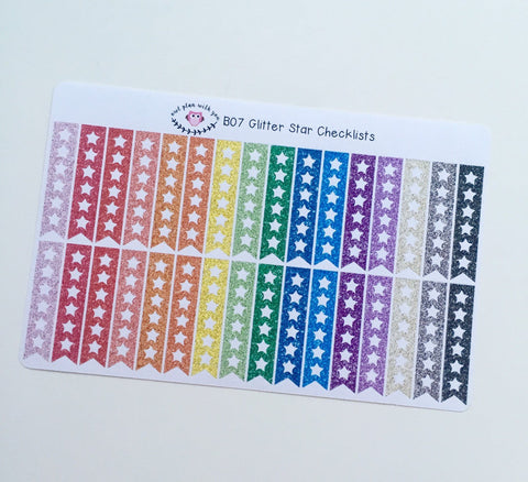 B07 || 32 Glitter Rainbow Star Checklist Stickers