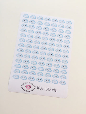 W01 || 91 Cloud Weather Tracking Stickers
