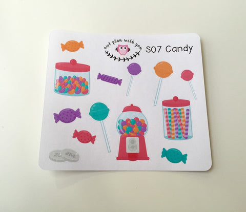 S07 || 12 Sweet Candy Stickers