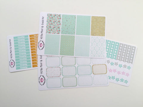V03 || Mint and Gold Vertical Weekly Planner Kit