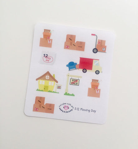 S12 || 9 Moving Day Stickers