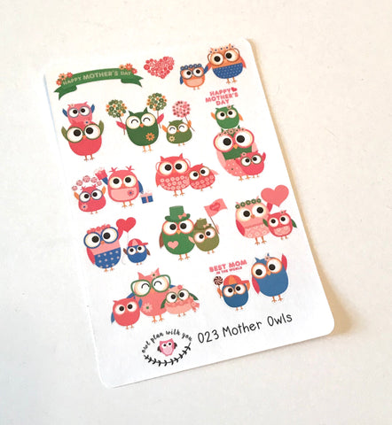 O23 || 13 Mother's Day Owl Stickers