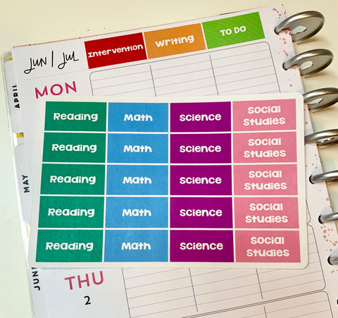 CP18 || Custom Teacher Planner Header Stickers