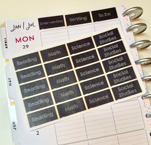 CP16 || 28 Custom Chalkboard Happy Planner Header Stickers