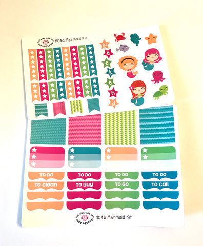 H04 || Mermaid Weekly Planner Kit || For Horizontal Erin Condren Life Planners
