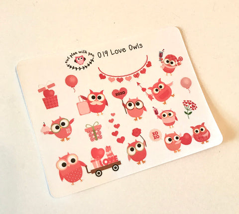 O19 || 16 Love Owl Stickers