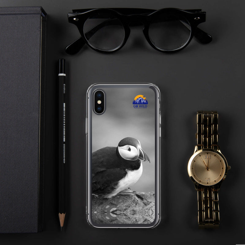 Atlantic Puffin Black and White iPhone Case - Go Wild Photography [description]  [price]