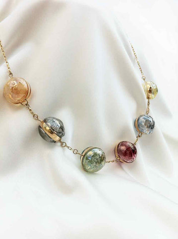 """Murano"" 6 Blown Glass Pearl Necklace"