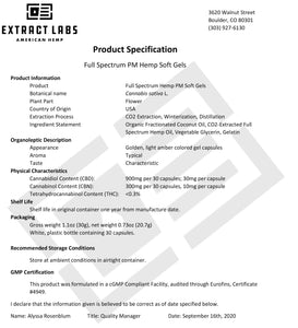 Extract Labs PM Formula CBD/CBN Softgels - Kultivate Wellness