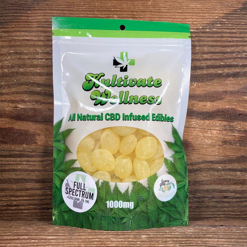 KW Full Spectrum CBD Lemon Drops Hard Candy 25mg - Kultivate Wellness