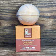 Load image into Gallery viewer, CBD Living Pumpkin Spice Bath Bomb 100mg - Kultivate Wellness