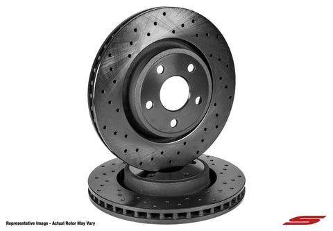 2007-2020 Toyota Tundra, 2008-2013 Sequoia Front Cross Drilled 1-Piece Sport Rotors (Set of 2) SKU# TOY5500