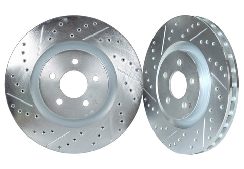 1984-1989 Honda Accord, 1985-1990 Prelude Front Cross Drilled & Slotted 1-Piece Sport Rotors (Set of 2) - HON2000XS