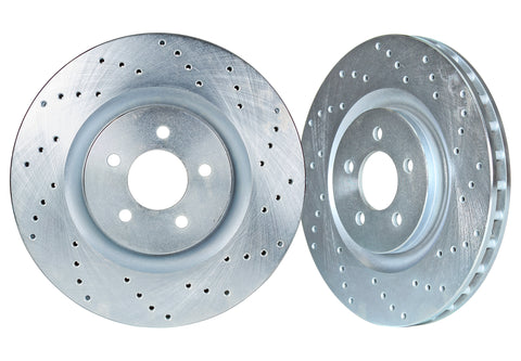 1987-1993 Ford Mustang 5.0 Front Cross Drilled 1-Piece Sport Rotors (Set of 2) - FOR1200